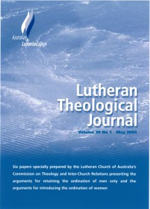 Theological Journal of the Lutheran Church of Australia LCA